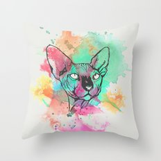 Watercolor Sphynx Throw Pillow