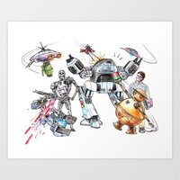 Bolts Vs. Bots Art Print
