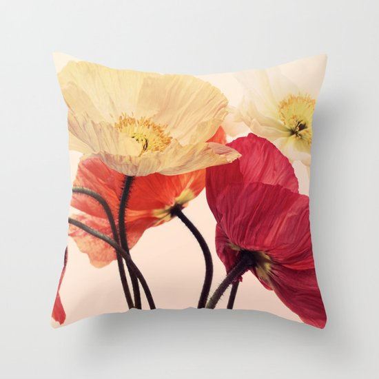 Posing Poppies - bright, vintage toned poppy still life Throw Pillow
