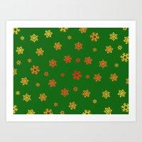 Snowflakes (Red & Gold O… Art Print