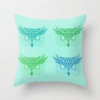 Owl Tribe II Throw Pillow
