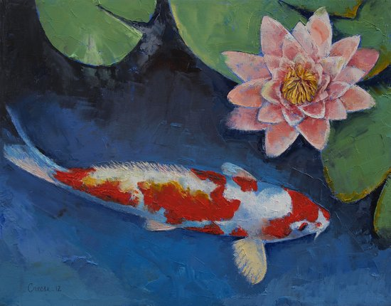Koi and water lily art print by michael creese society6 for Michael koi pond