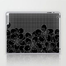 Cherry Blossom Grid Black Laptop & iPad Skin