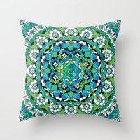 Khatem Rosette 003 | Turquoise Throw Pillow