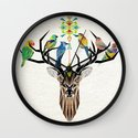 deer birds Wall Clock