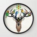 deer birds Wall Clock