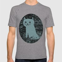 Wood grain cat Mens Fitted Tee Athletic Grey SMALL