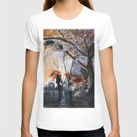 autumn T-shirts featuring Autumn rain - watercolor by Nicolas Jolly