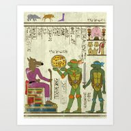 Art Print featuring Hero-glyphics: TMNT by Josh Ln
