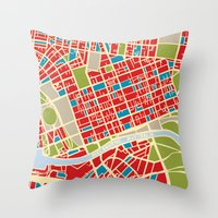 Vintage Style Map of Melbourne Throw Pillow