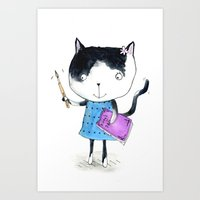 Creative Mono Cat  Art Print