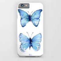 Two Blue Butterflies Watercolor iPhone 6 Slim Case
