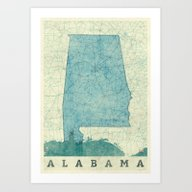 Alabama Map Blue Vintage Art Print