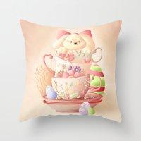 Teacup Bunny Throw Pillow