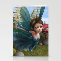 Flying Little Fairy Butterfly Stationery Cards