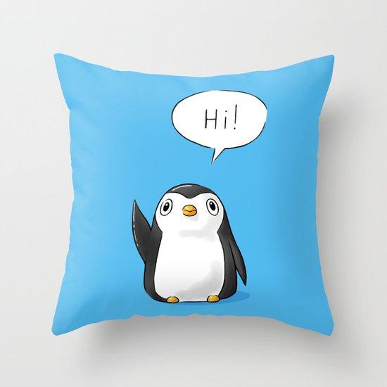 Hi Penguin Throw Pillow