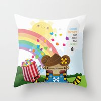 PopCorn can save the world Throw Pillow