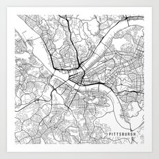 Pittsburgh Map, USA - Black and White Art Print