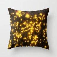 Yellow Water Stars Throw Pillow