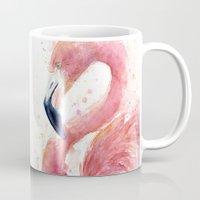 Pink Flamingo Watercolor Mug