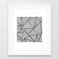 Abstraction Lines Close Up Black and White Framed Art Print