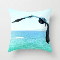 Pelican and Jetski Throw Pillow