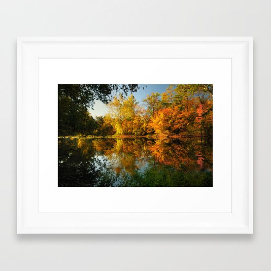 Fall on the Olentangy river Framed Art Print