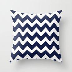 Chevron Navy Blue Throw Pillow