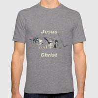 Jesus Christ Mens Fitted Tee Tri-Grey SMALL