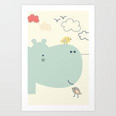 Hippy Hippo Art Print