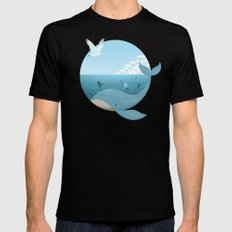 Whale & Seagull (US and THEM) Black SMALL Mens Fitted Tee