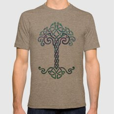 Woven Tree of Life - Cool Mens Fitted Tee Tri-Coffee SMALL
