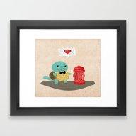 Framed Art Print featuring Squirtle Love  Marry Me … by Gunberk