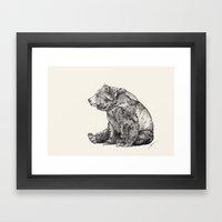 Bear // Graphite Framed Art Print