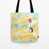 Penguin And A Red Balloo… Tote Bag