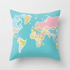 Map Print Throw Pillow