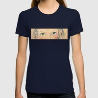 Girl with flower frame Womens Fitted Tee Navy SMALL