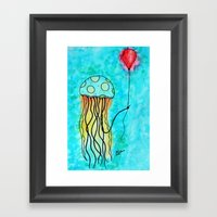 Jellyfish and Balloon Framed Art Print