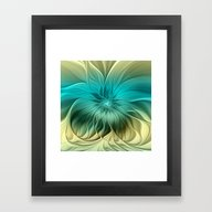 Framed Art Print featuring Abstract Blue Flower by Gabiw Art