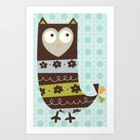 Brown Whimsy Owl Art Print