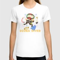 Scuba dive Womens Fitted Tee White SMALL