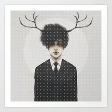 BLACK SUIT ANTLERS Art Print