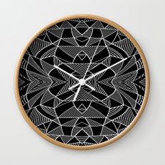 Abstraction Lines Mirrored White on Black Wall Clock
