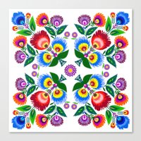 Folk Flowers Square Canvas Print