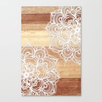 Canvas Print featuring White doodles on blonde wood - neutral / nude colors by micklyn