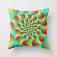 Spiral Spheres In Red Ye… Throw Pillow