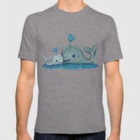 Whale Mom and Baby with Hearts Mens Fitted Tee Tri-Grey SMALL