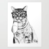 face Art Prints featuring Mac Cat by florever