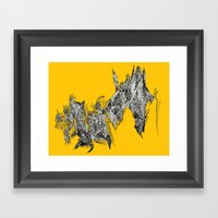 Waterfall In Yellow Framed Art Print