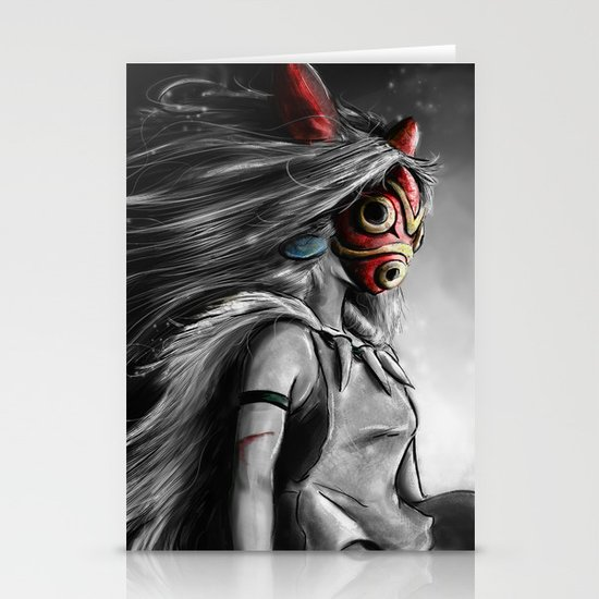 Miyazaki's Mononoke Hime Digital Painting the Wolf Princess Warrior Color Variation Stationery Card